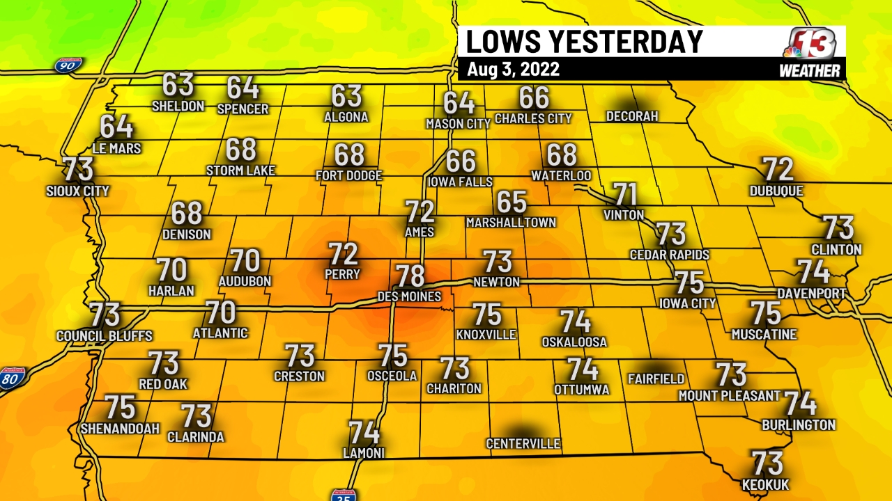 Yesterday's Low Temperatures