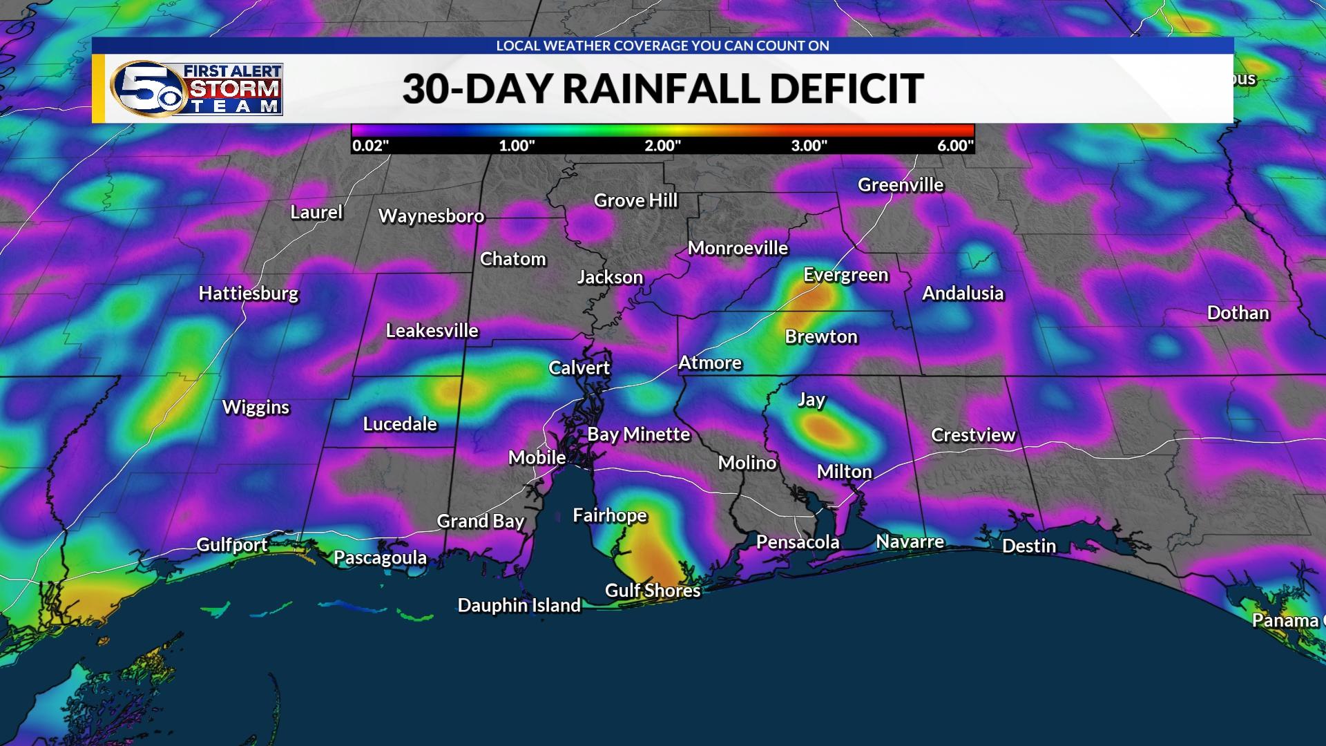 30-Day Rainfall Deficit