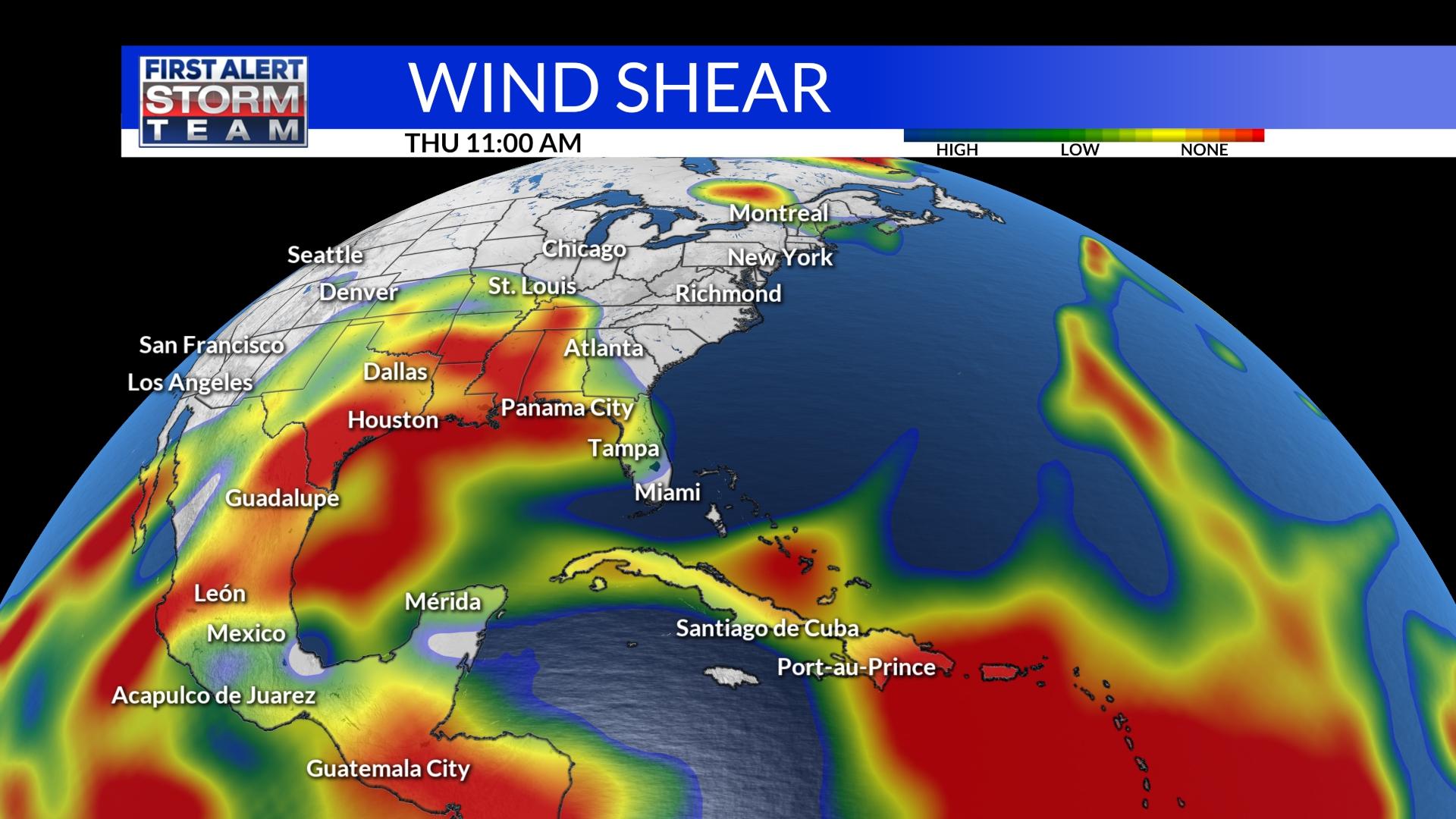 Gulf and Caribbean Wind Shear